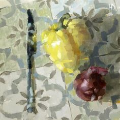 Ollie Le Brocq, 30x30cm, Oil Still Life Oil Painting, Light And Shadow, Yellow, Pepper, Vegetables, Art, Art Background, Kunst, Vegetable Recipes
