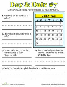 Second grade time worksheets help teach your child about months, days, and hours. Try these second grade time worksheets with your child. Calendar Skills, Calendar Worksheets, Worksheets For Grade 3, Calendar Activities, Free Printable Worksheets, Seasons Worksheets, Math Activities, Printables, First Grade Lessons