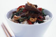 Mouth-watering Asian flavours spring to life in this super-healthy and easy beef and cashew nut stir-fry.