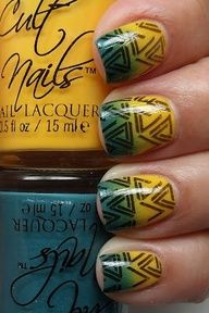 Amazing summer nails.Create the ombre effect with a sponge, then use a nail art pen for the design on top.