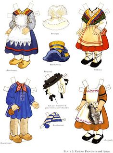 The Paper Dolls of Laura: Paulette y Pierre para vestir con trajes tipicos franceses Fabric Doll Pattern, Fabric Dolls, Pattern Art, Paper Toys, Paper Crafts, French Costume, Doll Games, French Boys, Paper Doll House