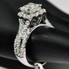 2ct w Diamond Wedding ring Princess cut Vintage 10mm Big White gold Woven sides