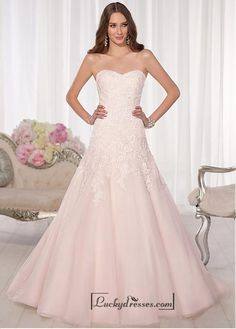 Alluring Tulle Sweetheart Neckline Natural Waistline A-line Wedding Dress Sale On LuckyDresses.com With Top Quality And Discount