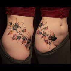 Fall leaves tattoo #abstracttattoo #genecoffey #watercolortattoo