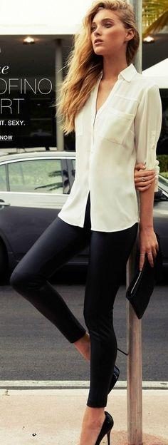 simple, perfect, super, style, black leggings, white blouse