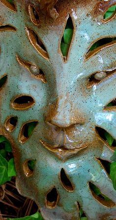 Art Mask Wall Hanging/ Ceramic Leaf Face With Cut Out by edMUDson