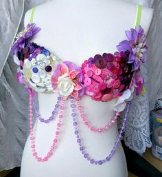 Custom Button Rave Bra • Made To Order • EDM • Costume • Outfit • Top by SunshineNLemons on Etsy