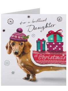 Sausage Dog & Bobble Hat Daughter Christmas Card | Clintons