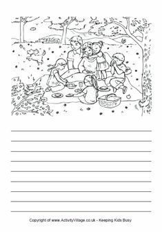 A scene at the top with writing lines at the bottom.  Good for writing workstation.