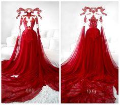 #red #hot #gown #askasu #Phoenix #goth #fire #alternative #fairy #reddress #lace #mesh