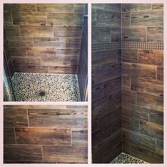 "Wood tile similar to this but with 48"" planks and a bench. Use river rock as the halfway band up the wall?"