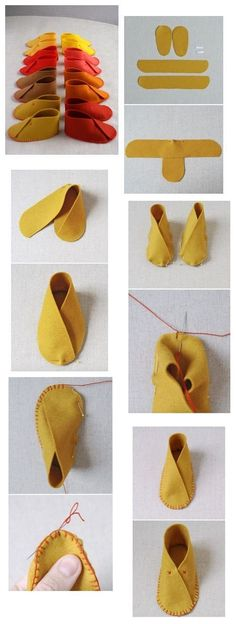 Do-it-yourself-Hausschuhe - k. - Do-it-yourself-Hausschuhe – k. Sewing Hacks, Sewing Crafts, Sewing Projects, Sewing Diy, Felt Crafts, Diy And Crafts, Doll Patterns, Sewing Patterns, Baby Slippers