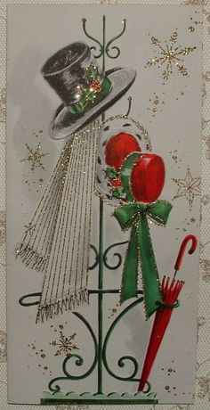 UNUSED - Glittered - Top Hat, Bonnet - 1950's Vintage Christmas Greeting Card