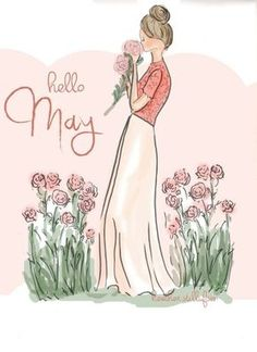 Hello May . Rose Hill Designs by Heather Stillufsen Illustration Mode, Illustrations, Rose Hill Designs, May Quotes, Emoticons, Hello May, Hello January, Hello Weekend, Jolie Photo