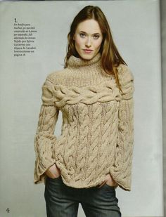Pullover with special knitting technique part 1 Lace Knitting, Knitting Patterns, Knit Crochet, Pull Torsadé, Crochet Clothes, Pulls, Knit Cardigan, Knitwear, Turtle Neck