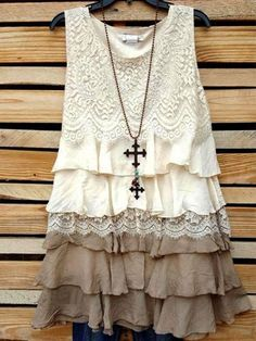 Won my heart ruffled lace dress in beige & taupe [product vendor] - life is chic boutique Lace Top Dress, Boho Dress, Lace Tunic, Ropa Upcycling, Boho Outfits, Vintage Outfits, Dressy Outfits, Casual Dresses, Ropa Shabby Chic