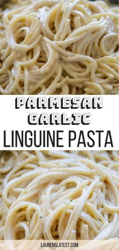 Homemade Parmesan and Garlic Linguine Pasta is super easy, fast and SO flavorful! The easiest dinner to make on any weeknight. This is sure to be one of your new favorite linguine recipes! #pastarecipes #dinner #easyrecipes #linguine