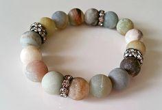 Earthtone Amazonite Bracelet with Rhinestone Rondelles