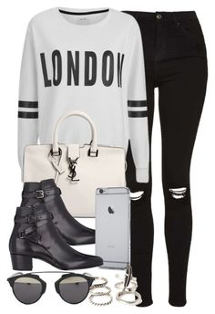 """""""Style #9887"""" by vany-alvarado ❤ liked on Polyvore featuring Topshop, ONLY, Yves Saint Laurent, Forever 21 and Christian Dior"""