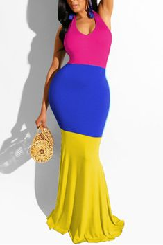 Yellow Fashion Sexy Stitching Sleeveless Dress Yellow Long Sleeve Dress, Yellow Dress, Yellow Fashion, Blue Fashion, Patchwork Dress, Affordable Fashion, Plus Size Outfits, Clothes For Women, Sleeveless Dresses