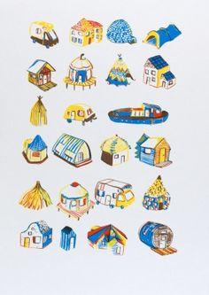 Gravures & Estampes | Encore Super | Les maisons | Tirage d'art en série limitée sur L'oeil ouvert Thing 1, Donald Duck, Artwork, Disney Characters, Fictional Characters, Colours, Illustration, Images, Cards