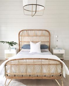 Ready for Nantucket Summer living! This gorgeous bed from makes me think of those warm summer nights sleeping with the windows open! Can you smell the salt air? 6 Pippens Way Nantucket, Rattan Headboard, Headboards, Bedding Sets Online, Couple Bedroom, Diy Bedroom Decor, Home Decor, Bedding Decor, Luxury Bedding