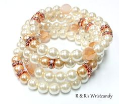 Pearl Rose Gold Beaded Coil Bracelet by RandRsWristCandy on Etsy, $12.00