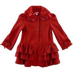 Kate Mack Polar Fleece Red Roses Coat (2T - 6X)