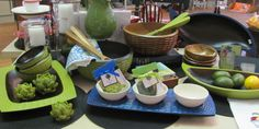 Bamboo salad bowl, servers and accessories available in blue, red, green, yellow and natural.