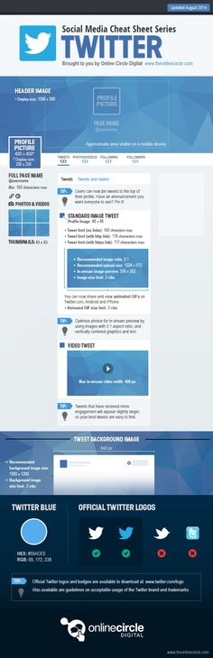 Twitter Sizes and Dimensions Cheat Sheet | Propel Marketing #twitter #infographics #modernistablog