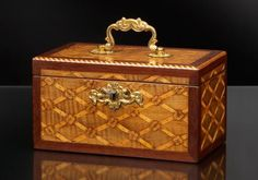 Dutch Tea Caddy, ~ wood marquetry with brass fittings ca.1790