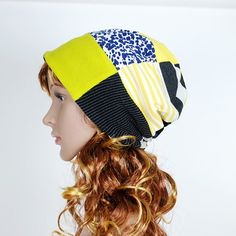 Items similar to Slouchy Beanie Hat Trendy Hat Patchwork Hat Eco Upcycled  Reversible Beanie Unisex Women Men Hat Eclectic Hat Hipster Tomboy Street  Style ... d75392e2d855