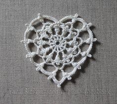 Cœur au crochet dentelle ivoire, Fête des mères, décoration de Noël, mariage, dîner amoureux, applique - coeur crochet : Accessoires de maison par tara-bleiz