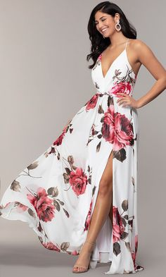 V-Neck Long Floral-Print Prom Dress by Simply Floral Prom Dresses, Pretty Prom Dresses, Maxi Dress Wedding, Floral Maxi Dress, Cute Dresses, Short Dresses, Summer Dresses, Ruched Dress, Floral Dress Outfits