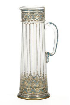 Lobmeyr, pitcher, blown glass, blue, white and gold enamel, 1879