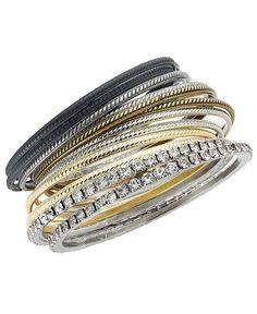INC International Concepts Bracelets Set, Pave Rhinestone Bangles Set - Fashion Jewelry - Jewelry & Watches - Macy's