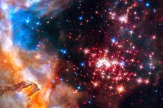 Space Image: Star cluster Westerlund 2, stunning orange, red, blue and black colors. Carefully enhanced picture (with a special artistic treatment), looks like a realistic painting, the colors are more vivid and vibrant than in the original photo. Looks amazing as large print or poster, bring the universe in your home or office! Image credit for the original picture: NASA, ESA, the Hubble Heritage Team (STScI/AURA), A. Nota (ESA/STScI), and the Westerlund 2 Science Team