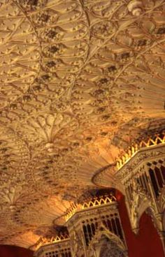 Strawberry Hills Twickenham, England, interior view, detail of Gothic fan vaulting, photo 1968 I Miss My Sister, English Architecture, English Castles, British Isles, Vaulting, Manor Homes, Strawberry Hill, Home And Garden, England