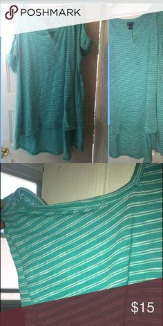 Striped hi low shirt Off shoulder striped high low shirt.... torrid Tops Blouses