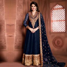 Buy Navy Blue - Lavishing Festive Collection Anarkali for womens online India, Best Prices, Reviews - Peachmode