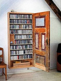 Old Door Hidden Wall Book Shelves – Rustic Home Decor, Vintage Bookshelf - Basket Decoration and Crates Ideas Cd Storage, Storage Ideas, Hidden Storage, Storage Solutions, Craft Storage, Media Storage, Dvd Storage Cabinet, Storage Stairs, Secret Storage