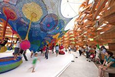 Crocheted playground by Japanese artist Toshiko Horiuchi.