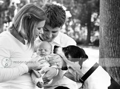 Sweet newborn session with parents and dog.