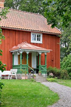 Cute Cottage, Red Cottage, Norwegian House, Sweden House, Red Houses, Scandinavian Home, Exterior Doors, Rustic Interiors, Building Design