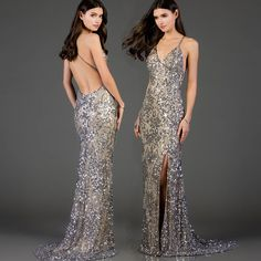 oh, sexy back! Wrap yourself in pure glamour when you slip on this dazzling Scala 48977 shop this look ➡ Scala - 48977 Plunging V-Neck Sequined High Slit Gown Homecoming Dresses Long, Short Dresses, Bridesmaid Dresses, Homecoming Queen, Graduation Dresses, Pageant Dresses, Long Evening Gowns, Evening Attire, Silver Outfits