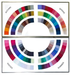 This is a colour palette that shows the colours for the four seasons. Year-round colors: Black, White, Grey, Taupe/Camel, Middle Teal, Raspberry, Cardinal Red, Royal Blue
