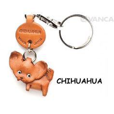 GENUINE 3D LEATHER CHIHUAHUA DOG KEYCHAIN MADE BY SKILLFUL CRAFTSMEN OF VANCA CRAFT IN JAPAN.