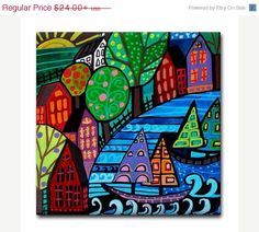 YIPEE 50% off- Landscape Art  art Tile Ceramic Coaster Mexican Folk Art Print of painting by Heather Galler dog
