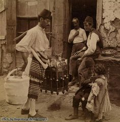 An ice cream merchant watches a boy give his sister a spoonful of ice cream, Constantinople, Turkey, 1898.