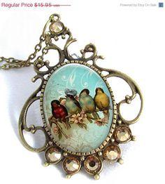 Vintage Birds Cameo Art Pendant Resin Jewelry Necklace Resin Pendant Photo Charm Pendant, Resin Picture Pendant  (0269). $13.56, via Etsy.